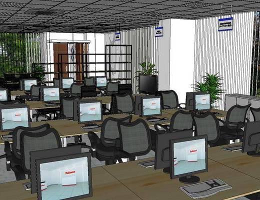 办公室, 现代, 会议室, 桌椅组合, 电脑