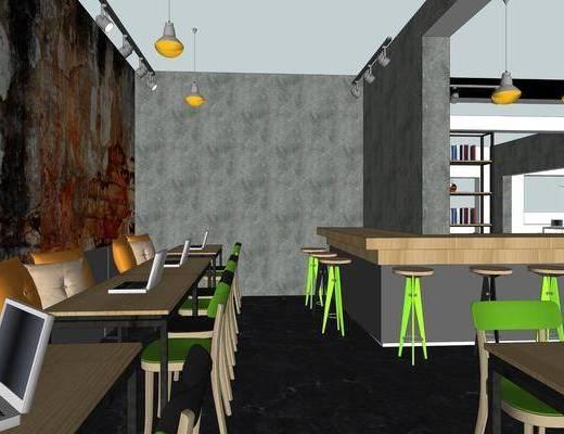 辦公室, 現代, 吊燈, 桌椅組合, 單椅