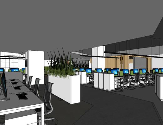 辦公室, 現代, 桌椅組合, 電腦