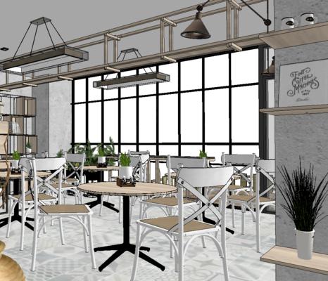 奶茶店, 新中式, 桌椅组合, 吊饰, 吊灯, 置物架