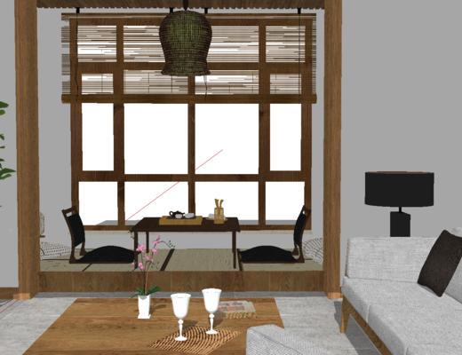 茶室, 榻榻米, 沙发, 水杯, 盆栽
