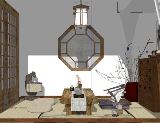 茶室, 新中式, 榻榻米, 吊灯