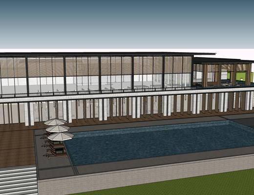 商业楼盘, 中式, 户外, 建筑, 泳池