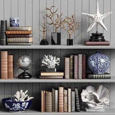 欧式书架, 书架, 摆件, 摆件组合