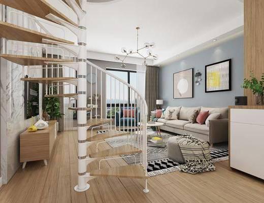 现代客厅, 北欧客厅, 沙发组合, 客厅