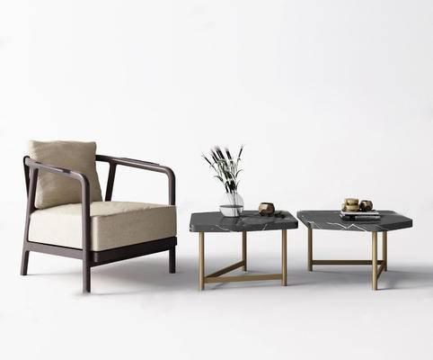 新中式单人沙发, 沙发组合, 单人沙发